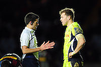 Referee Matthew O'Grady speaks with Will Addison of Sale Sharks. Anglo-Welsh Cup match, between Harlequins and Sale Sharks on February 3, 2017 at the Twickenham Stoop in London, England. Photo by: Patrick Khachfe / JMP