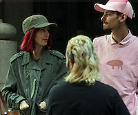 NEW YORK, NY-July 24: Lily Collins, Devon Bostick,  shooting on location for Netflix & Plan B Enterainment  film Okja in New York. NY July 24, 2016. Credit:RW/MediaPunch