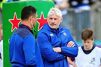 Bath Director of Rugby Todd Blackadder speaks to Head Coach Tabai Matson during the pre-match warm-up. European Rugby Challenge Cup Quarter Final, between Bath Rugby and CA Brive on April 1, 2017 at the Recreation Ground in Bath, England. Photo by: Patrick Khachfe / Onside Images