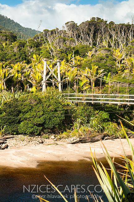 Swingbridge across Kohaihai River on start of Great Walk Heaphy Track, Kahurangi National Park, Buller Region, West Coast, New Zealand, NZ
