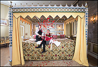 BNPS.co.uk (01202 558833)<br /> Pic: PhilYeomans/BNPS<br /> <br /> Fancy a romantic Valentines stay in Britains largest hotel bed?<br /> <br /> This massive four-poster at historic Thornbury Castle near Bristol is ten feet wide and takes four people to make, it's special bedding involves two king-size sheets and duvets stitched together, and eight pillows. <br /> <br /> The castle has had a turbulent history, built in 1511 as the country seat of Edward Stafford, 3rd Duke of Buckingham. But only 10 years later Henry VIII confiscated it after beheading the unfortunate Duke for alleged treason in 1521, and even whisked Anne Boleyn there in 1535 as part of their Honeymoon Tour.<br /> <br /> To stay in the romantic Tower Suite it will cost you &pound;650 for a two night Valentine special deal, that includes a five course meal for two, champagne on arrival and champagne truffles.