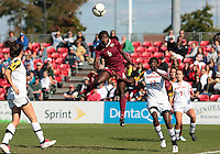 COLLEGE PARK, MD - OCTOBER 21, 2012:  Shade Pratt (22) of the University of Maryland can't stop a header by Jessica Price (6) of Florida State during an ACC women's match at Ludwig Field in College Park, MD. on October 21. Florida won 1-0.