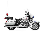 Police motorbike Harley Davidson FLHTP side view isolated on white background with clipping path