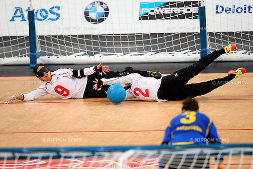 (L-R) Akiko Adachi, Rie Urata (JPN), .SEPTEMBER 6, 2012 - Goalball : .Women's goalball Semi-Final match between Sweden 3-4 Japan of the London 2012 Paralympic Games at the Copper Box in Stratford, UK. (Photo by Akihiro Sugimoto/AFLO SPORT) [1081].