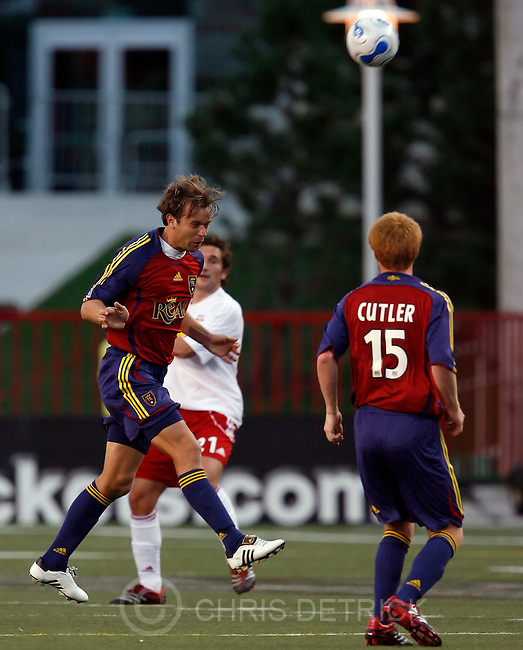 Salt Lake City,UT--4/15/06--6:47:19 PM-.Real's Carey Talley #3 during the game..Real Soccer vs NY. 1-1..Chris Detrick/Salt Lake Tribune.File #_1CD0656..