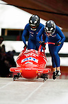 18 November 2005: Jill Bakken pilots USA 2 to an 8th place finish at the 2005 FIBT AIT World Cup Women's Bobsleigh Tour at the Verizon Sports Complex, in Lake Placid, NY. Mandatory Photo Credit: Ed Wolfstein.