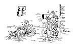 (a man training on a rowing machine has a coach riding on ane exercise bike yelling at him through a megaphone)