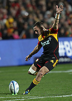 Chiefs' Aaron Cruden takes a penalty kick against the Crusaders in the semi-final Super Rugby match, Waikato Stadium, Hamilton, New Zealand, Friday, July 27, 2012.  Credit:SNPA / David Rowland