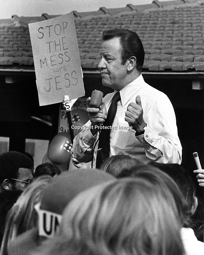 Jesse M. Unruh, powerfull California speaker of house running for Governor against Ronald Reagan. 1970.<br />(photo by Ron Riesterer)