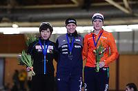 01-2017, ISU World Cup, Podium 1000m Ladies A Division, Nao Kodaira (JPN), Heather Bergsma (USA), Jorien ter Mors (NED), ©photo Martin de Jong