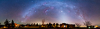 The winter Milky Way and Zodiacal Light in a 180&deg; panorama taken at the Painted Pony Resort in southwestern New Mexico, March 11, 2013. The panorama is a composite of 4 segments, each a two layer stack, and each exposure 3 minutes at f/2.8 with the 14mm Samyang lens and Canon 5D MkII at ISO 1600, and each exposure tracked on the iOptron SkyTracker. The ground is from one exposure per segment. Jupiter is the bright object near the centre.