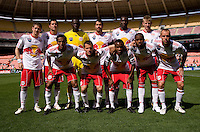 The D.C. United starting XI line up before the game at RFK Stadium in Washington, DC.  The New York Red Bulls defeated D.CC United, 2-0.
