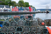 Tobermory, Isle of Mull, Hebrides, Scotland, May 2010. The Harbour of Tobermory is lined by colourful houses, fishing ships and crab and lobster pods. Dutch Tallship Thalassa sails between the islands along the Scotish west coast in search of the quality single malt whisky that is produced by the many distilleries. Photo by Frits Meyst/Adventure4ever.com