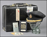 BNPS.co.uk (01202 558833)<br /> Pic DominicWinter/BNPS<br /> <br /> ***Please use full byline***<br /> <br /> Trubshaw's Concorde flight case and hat.<br /> <br /> The supersonic archive amassed by legendary Concorde test pilot Brian Trubshaw during his flying career is being sold by his family.<br /> <br /> The collection made by the late airman who was the first to fly the famous turbo-jet in Britain in 1969, includes all his log books covering his 30 years service.<br /> <br /> He went on to put Concorde through its paces, criss-crossing the globe at twice the speed of sound before the plane entered commercial service six years later.<br /> <br /> The archive is being sold by Dominic Winter Auctioneers, Glocs. on November 7th.