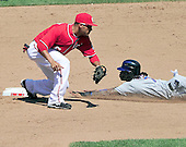 New York Mets shortstop Jose Reyes is tagged out by Washington Nationals shortstop Ian Desmond (6) trying to steal in the fifth inning at Nationals Park in Washington, D.C. on Sunday, July 31, 2011.  .Credit: Ron Sachs / CNP.(RESTRICTION: NO New York or New Jersey Newspapers or newspapers within a 75 mile radius of New York City)