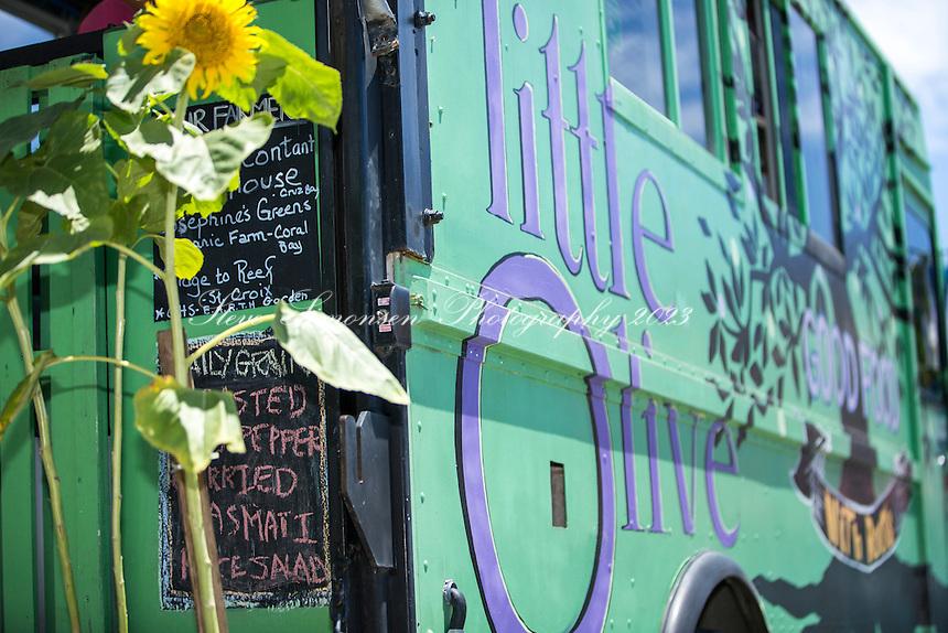 Little Olive Food Truck<br /> serving Greek food specialties<br /> Cruz Bay St. John<br /> US Virgin Islands