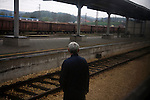 Worker along the train line Belgrade to Sarajevo.