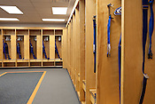 April 1, 2012. Durham, NC.. In the Bulls locker room, all the dressing areas were refinished and new carpet was installed.. During the off season, many renovations were performed on the facilities at the Durham Bulls Athletic Park, including refurbished locker rooms, a newly painted Blue Monster and many new seats installed around the park.