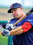 8 March 2012: Boston Red Sox outfielder Alex Hassan awaits his turn in the batting cage prior to a Spring Training game against the St. Louis Cardinals at Roger Dean Stadium in Jupiter, Florida. The Cardinals defeated the Red Sox 9-3 in Grapefruit League action. Mandatory Credit: Ed Wolfstein Photo