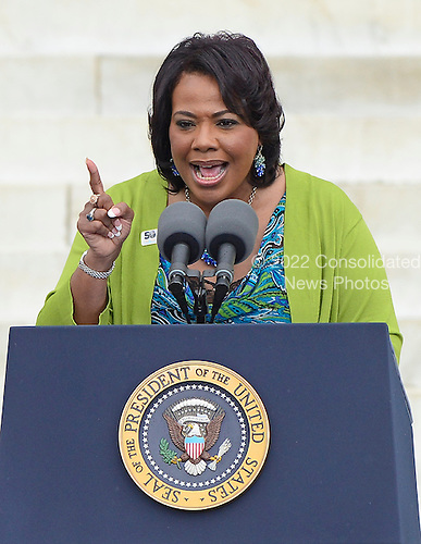 Bernice King, daughter of late Dr. Martin Luther King Jr., delivers remarks at the Let Freedom Ring ceremony on the steps of the Lincoln Memorial to commemorate the 50th Anniversary of the March on Washington for Jobs and Freedom<br /> Credit: Ron Sachs / CNP