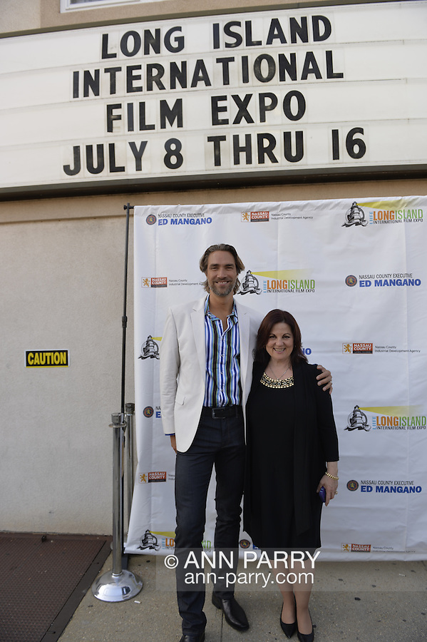 Bellmore, New York, USA. 16th July 2015. Actor LUkAS HASSEL and DEBORAH MARKOWITZ, Nassau County Film Commissioner, are on the Red Carpet at the 18th Annual LIIFE Awards Ceremony, at the Bellmore Movies. Markowitz is the Director of of the Long Island International Film Expo.