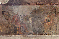Fresco of Achilles and Briseis at the Trojan War, from the crypt of the Casa del Criptoportico, or House of the Cryptoporticus, Pompeii, Italy. The house is one of the largest in Pompeii and was owned by the Valerii Rufi family and built in the 3rd century BC. It takes its name from the underground corridor used as a wine cellar and lit by small windows. Pompeii is a Roman town which was destroyed and buried under 4-6 m of volcanic ash in the eruption of Mount Vesuvius in 79 AD. Buildings and artefacts were preserved in the ash and have been excavated and restored. Pompeii is listed as a UNESCO World Heritage Site. Picture by Manuel Cohen