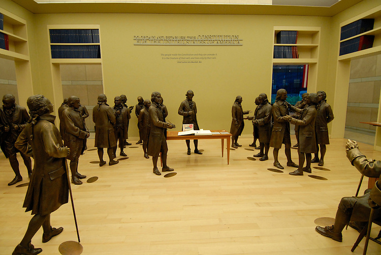 National Constitution Center, signers of the Constitution, sculptures..Philadelphia, Pennsylvania, PA USA.  Photo copyright Lee Foster, 510-549-2202, lee@fostertravel.com, www.fostertravel.com. Photo 284-30590