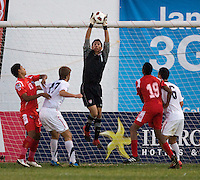 Fernando Pina (1) of the United States make a save during the group stage of the CONCACAF Men's Under 17 Championship at Jarrett Park in Montego Bay, Jamaica. The USA defeated Panama, 1-0.