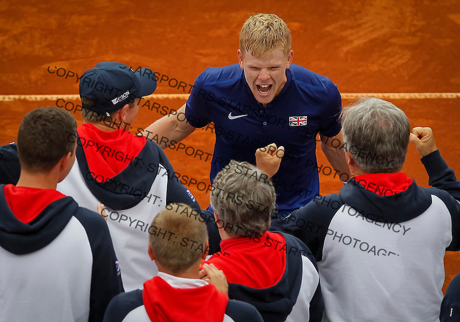 BELGRADE, SERBIA - JULY 17: Kyle Edmund (C) of Great Britain celebrates victory with the team mates after day three of the Davis Cup Quarter Final match between Serbia and Great Britain on Stadium Tasmajdan on July 17, 2016 in Belgrade, Serbia. (Photo by Srdjan Stevanovic/Getty Images)
