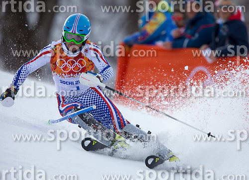 14.02.2014, Rosa Khutor Alpine Center, Krasnaya Polyana, RUS, Sochi 2014, Super- Kombination, Herren, Slalom, im Bild Alexander Khoroshilov (RUS) // Alexander Khoroshilov of Russia in action during the Slalom of the mens Super Combined of the Olympic Winter Games 'Sochi 2014' at the Rosa Khutor Alpine Center in Krasnaya Polyana, Russia on 2014/02/14. EXPA Pictures © 2014, PhotoCredit: EXPA/ Johann Groder