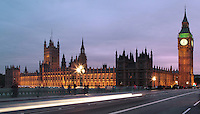 Big Ben and Palace of Westminster, 1858, clock tower of Palace of Westminster or Houses of Parliament, London, UK, 1840-60, by Sir Charles Barry and Augustus Pugin, seen from Westminster Bridge, road and foot traffic bridge, 1862, Thomas Page and Charles Barry. Picture by Manuel Cohen