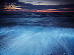 Beautiful dramatic dark dusk scenery of lake Huron, Pinery Provincial Park, Grand Bend, Ontario, Canada.