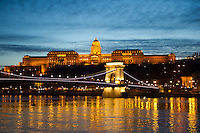 Evening cityscape at the bank of river Danube that is part of the world heritage in Budapest, Hungary on February 12, 2011. ATTILA VOLGYI