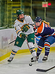 4 January 2014:  University of Vermont Catamount defender Dayna Colang, a Sophomore from Fairbanks, Alaska, in action against the Syracuse University Orange, in non-conference play at Gutterson Fieldhouse in Burlington, Vermont. The Orange defeated the UVM Lady Cats 4-3 in their first ever NCAA meeting. Mandatory Credit: Ed Wolfstein Photo *** RAW (NEF) Image File Available ***