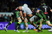 Tom Dunn of Bath Rugby takes on the Pau defence. European Rugby Challenge Cup match, between Pau (Section Paloise) and Bath Rugby on October 15, 2016 at the Stade du Hameau in Pau, France. Photo by: Patrick Khachfe / Onside Images