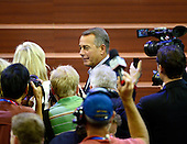 Speaker of the United States House of Representatives John Boehner (Republican of Ohio) speaks to reporters prior to participating in a sound check from the podium of the 2012 Republican National Convention prior to the start of proceedings in Tampa Bay, Florida on Monday, August 27, 2012..Credit: Ron Sachs / CNP.(RESTRICTION: NO New York or New Jersey Newspapers or newspapers within a 75 mile radius of New York City)
