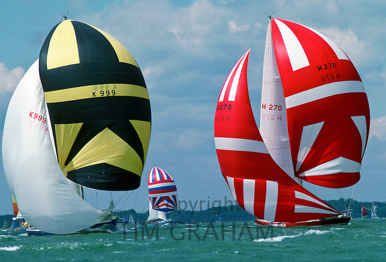Ocean Racers yachts competing in Britannia Cup at Cowes, Isle of Wight, United Kingdom RESERVED USE - NOT FOR DOWNLOAD -  FOR USE CONTACT TIM GRAHAM