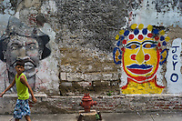 An artfully painted ruined wall in Getsemaní, the historic black slave community in Cartagena, Colombia.