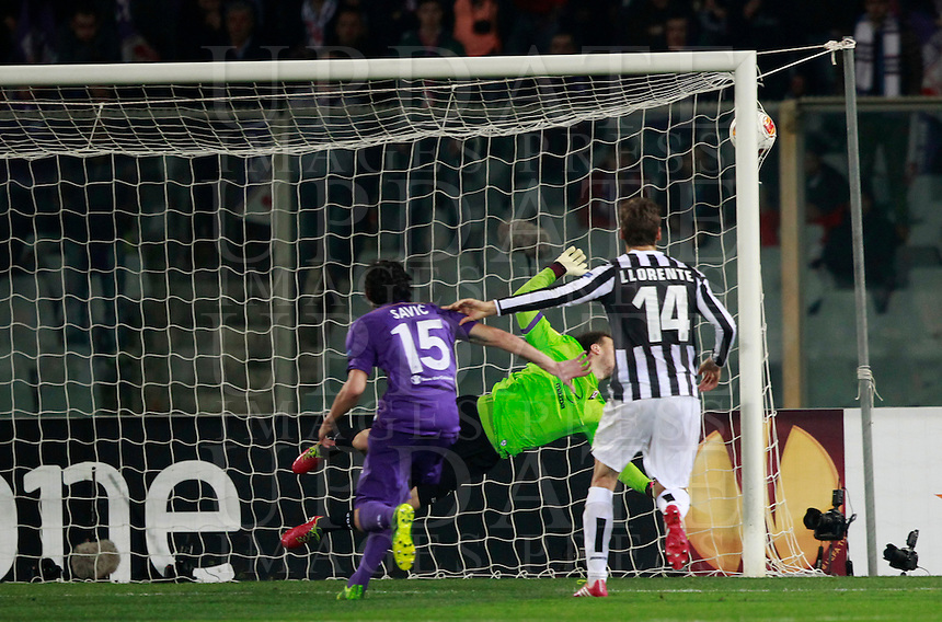 Calcio, ritorno degli ottavi di finale di Europa League: Fiorentina vs Juventus. Firenze, stadio Artemio Franchi, 20 marzo 2014. <br /> during the Europa League round of 16 second leg football match between Fiorentina and Juventus at Florence's Artemio Franchi stadium, 20 March 2014. Juventus won 1-0 to advance to the quarter-finals.<br /> UPDATE IMAGES PRESS/Isabella Bonotto