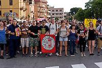 Roma 3 Giugno 2015<br /> Momenti di tensione al presidio anti-rom a Boccea, a Roma, cui hanno partecipato il movimento di estrema destra Casapound e alcuni comitati di quartiere. Una iniziativa contestata da antifascisti, e movimenti per la casa. Boccea &egrave; il quartiere dove mercoled&igrave; 27 maggio un'auto guidata da un 17enne  rom, ha investito nove persone e ucciso la 44enne filippina Corazon Abordo. La manifestazione degli antifascisti contro Casapound<br /> Rome June 3, 2015<br /> Moments of tension to the protest anti-Roma Boccea in Rome, attended by the far-right movement Casapound and some neighborhood committees. An initiative opposed by anti-fascists, and movements for the house. Boccea is the neighborhood where Wednesday, May 27 car driven by a 17 year old Roma, has invested nine people and killed the 44 year old Filipino Corazon Abordo. The demostration of the  anti-fascists against  the far-right movement Casapound