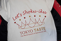 A jacket showing the logo for Tokyo Taste, The World Summit of Gastronomy 2009, 10 February 2009,Tokyo, Japan.Many of the world's top chefs are assembled for the sold-out 3 day event in the center of Tokyo.