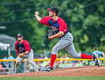 8 July 2014: Lowell Spinners pitcher Kevin McAvoy on the mound against the Vermont Lake Monsters at Centennial Field in Burlington, Vermont. The Lake Monsters rallied in the 9th inning to defeat the Spinners 5-4 in NY Penn League action. Mandatory Credit: Ed Wolfstein Photo *** RAW Image File Available ****