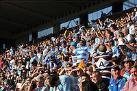 Argentina supporters in the crowd celebrate a try. Rugby World Cup Pool C match between Argentina and Tonga on October 4, 2015 at Leicester City Stadium in Leicester, England. Photo by: Patrick Khachfe / Onside Images