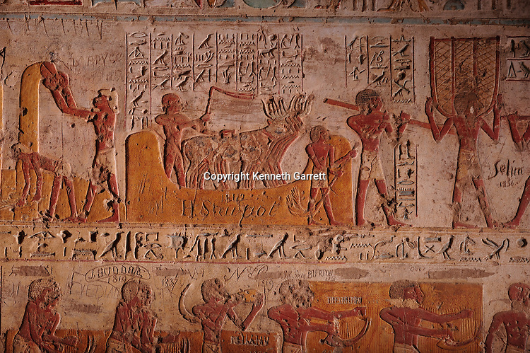 Zahi Hawass Secret Egypt Travel Guide; Egypt; archaeology; El Kab,Zahi Hawass Secret Egypt Travel Guide; Egypt; archaeology; El Kab, tomb of noble, tomb of Paheri, oxen threast wheat, agriculture, harvest, New Kingdom, Thutmosis III