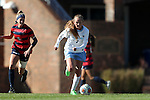 12 November 2016: North Carolina's Annie Kingman (7) and Liberty's Baylee Gillmore (6). The University of North Carolina Tar Heels played the Liberty University Flames at Fetzer Field in Chapel Hill, North Carolina in a 2016 NCAA Division I Women's Soccer Tournament First Round match. UNC won the game 3-0