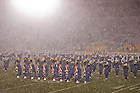 Nov. 23, 2013; The Notre Dame Marching Band performs its post game concert in heavy snow after the BYU game.<br /> <br /> Photo by Matt Cashore