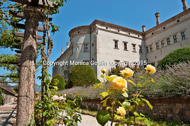 Buonconsiglio Castle gardens, castle dates back to the 13th century and is now a museum in Trento, Italy