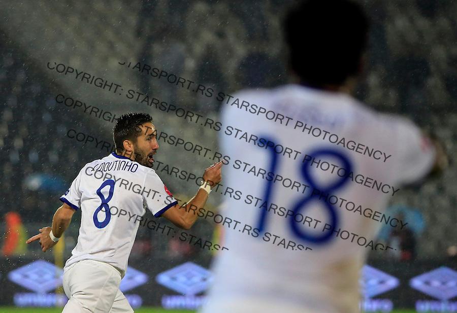 Fudbal, kvalifikacije za UEFA EURO 2016 qualifiers-Qualifying round - Group I<br /> Srbija v Portugal<br /> Jo&atilde;o Moutinho (L) celebrates scoring a goal <br /> Beograd, 11.10.2015.<br /> foto: Srdjan Stevanovic/Starsportphoto &copy;