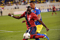 Jozy Altidore (9)  of the United States. The men's national team of the United States (USA) Ecuador (ECU) during an international friendly at Red Bull Arena in Harrison, NJ, on October 11, 2011.