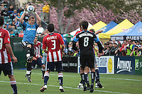 Dan Kennedy jumps up for the save. Chivas USA defeated the San Jose Earthquakes 2-1 at Buck Shaw Stadium in Santa Clara, California on April 23rd, 2011.